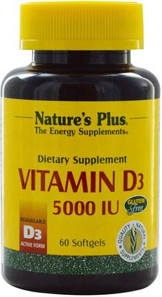 Vitamin D3, 5000 IU, 60 Softgels by Natures Plus, 維生素,維生素A和維生素D3 HK 香港