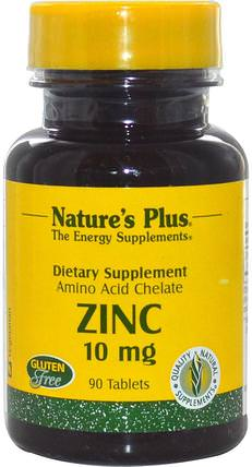 Zinc, 10 mg, 90 Tablets by Natures Plus, 補品,礦物質,鋅 HK 香港
