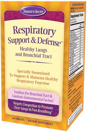 Respiratory Support & Defense, 60 Tablets by Natures Secret, 健康,肺和支氣管 HK 香港