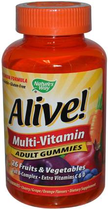Alive!, Adult Multi-Vitamin, Fruit Flavors, 90 Gummies by Natures Way, 維生素,多種維生素 HK 香港