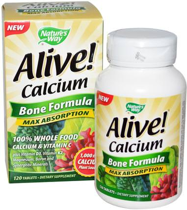Alive! Calcium, Bone Formula, 120 Tablets by Natures Way, 補充劑,礦物質,鈣和鎂 HK 香港