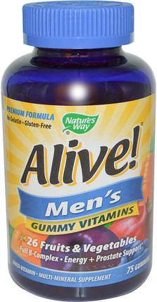 Alive! Mens Vitamins, 75 Gummies by Natures Way, 維生素,男性多種維生素 HK 香港