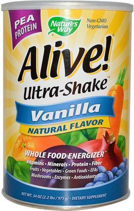 Natures Way, Alive! Ultra-Shake, Vanilla, 34 oz (975 g) 補充劑,代餐奶昔