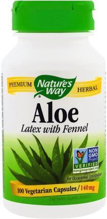 Aloe, Latex With Fennel, 140 mg, 100 Veggie Caps by Natures Way, 補充劑,蘆薈 HK 香港