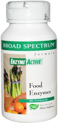 Broad Spectrum Formula, Enzyme Active, Food Enzymes, 90 Capsules by Natures Way, 補充劑,酶 HK 香港