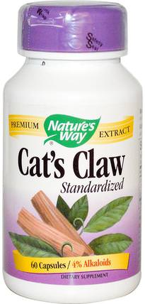 Cats Claw, Standardized, 60 Capsules by Natures Way, 補品,草藥,貓爪(ua de gato) HK 香港