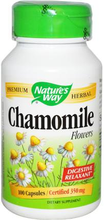 Chamomile Flowers, 350 mg, 100 Capsules by Natures Way, 補品,草藥,洋甘菊 HK 香港
