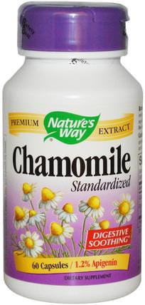 Chamomile, Standardized, 60 Capsules by Natures Way, 補品,草藥,洋甘菊 HK 香港
