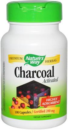 Charcoal, Activated, 280 mg, 100 Capsules by Natures Way, 補品,礦物質,活性炭 HK 香港