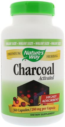 Charcoal, Activated, 280 mg, 360 Capsules by Natures Way, 補品,礦物質,活性炭 HK 香港