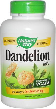 Dandelion Root, 525 mg, 180 Veggie Caps by Natures Way, 草藥,蒲公英根 HK 香港