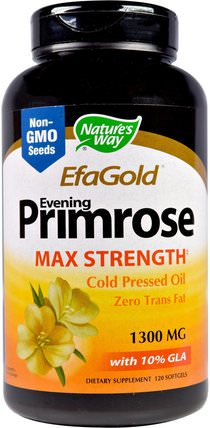 EFAGold, Evening Primrose, Max Strength, 1.300 mg, 120 Softgels by Natures Way, 補充劑,efa omega 3 6 9(epa dha),dha,epa HK 香港