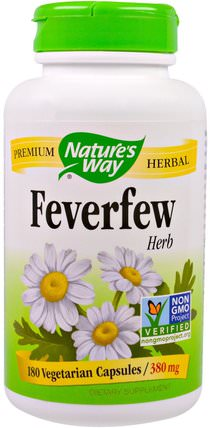 Feverfew Herb, 380 mg, 180 Veggie Caps by Natures Way, 健康,頭痛 HK 香港