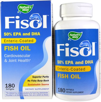 Fisol, Enteric-Coated Fish Oil, 180 Softgels by Natures Way, 補充劑,efa omega 3 6 9(epa dha),dha,epa,魚油 HK 香港