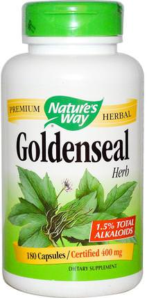 Goldenseal, Herb, 400 mg, 180 Capsules by Natures Way, 補充劑,紫錐花 HK 香港