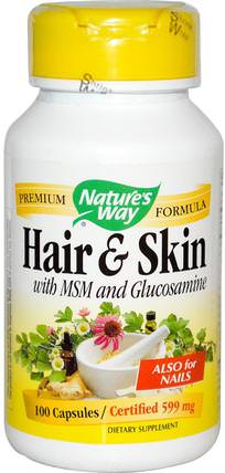 Hair & Skin, With MSM and Glucosamine, 100 Capsules by Natures Way, 補品,健康,關節炎 HK 香港