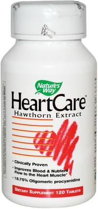 HeartCare, Hawthorn Extract, 120 Tablets by Natures Way, 補品,草藥 HK 香港