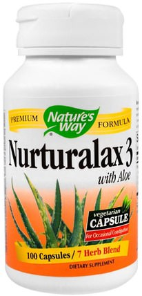 Nurturalax 3, with Aloe, 100 Capsules by Natures Way, 補充劑,蘆薈 HK 香港