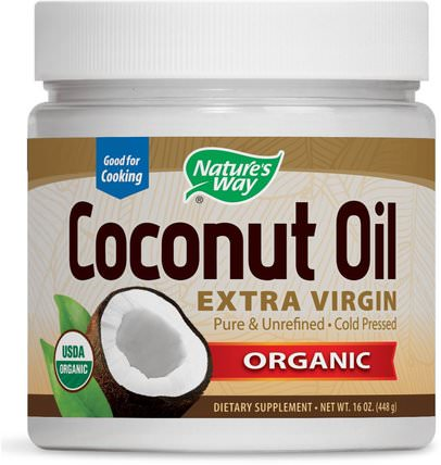 Organic Coconut Oil, Extra Virgin, 16 oz (448 g) by Natures Way, 食物,椰子油,椰子油皮 HK 香港