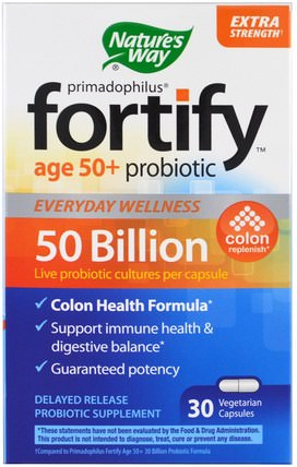 Primadophilus, Fortify Age 50+ Probiotic, Extra Strength, 30 Veggie Capsules by Natures Way, 補充劑,益生菌 HK 香港