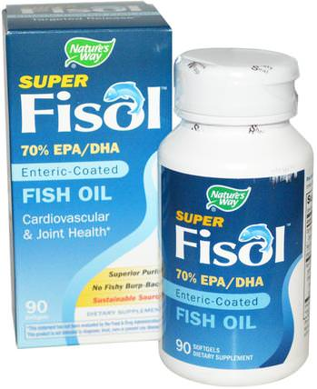 Super Fisol, Enteric-Coated Fish Oil, 90 Softgels by Natures Way, 補充劑,efa omega 3 6 9(epa dha),dha,epa HK 香港