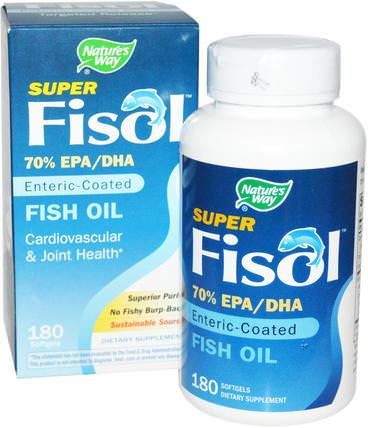 Super Fisol, Fish Oil, Enteric Coated, 180 Softgels by Natures Way, 補充劑,efa omega 3 6 9(epa dha),dha,epa HK 香港
