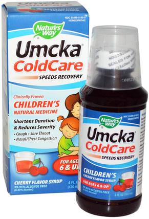 Umcka ColdCare, Childrens, Cherry Flavor Syrup, 4 fl oz (120 ml) by Natures Way, 兒童健康,感冒感冒咳嗽 HK 香港