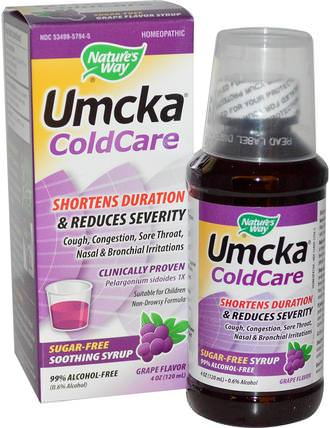 Umcka ColdCare, Soothing Syrup, Sugar Free, Grape Flavor, 4 oz (120 ml) by Natures Way, 健康,感冒流感和病毒,感冒和流感 HK 香港