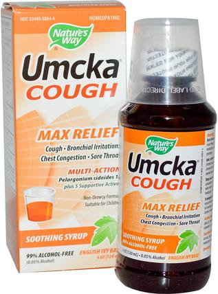 Umcka Cough, Max Relief, Soothing Syrup, 4 oz (120 ml) by Natures Way, 健康,感冒流感和病毒,感冒和流感 HK 香港