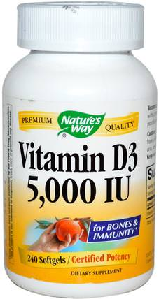 Vitamin D3, 5000 IU, 240 Softgels by Natures Way, 維生素,維生素D3 HK 香港