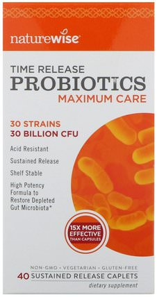 NatureWise, Probiotics, Time Release, Maximum Care, 40 Sustained Release Caplets 補充劑,益生菌