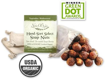 Organic Hand-Sort Select Soap Nuts With 1 Muslin Drawstring Bag, 4 oz by NaturOli, 家庭,洗衣店,家庭清潔工 HK 香港