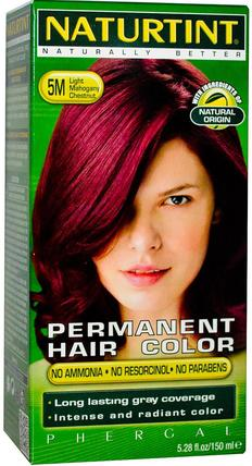Naturtint, Permanent Hair Color, 5M Light Mahogany Chestnut, 5.28 fl oz (150 ml) 洗澡,美容,頭髮,頭皮,頭髮的顏色