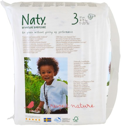 Diapers, Size 3, 9-20 lbs (4-9 kg), 31 Diapers by Naty, 兒童健康,尿布 HK 香港