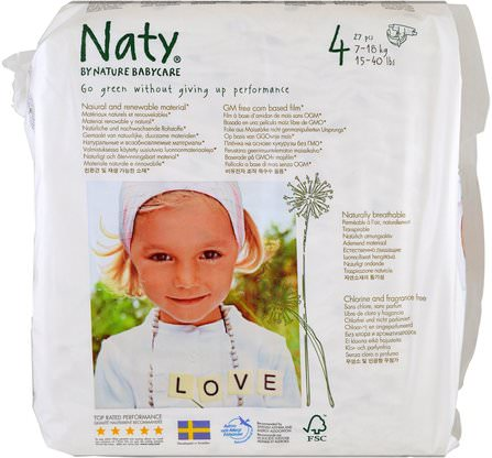 Diapers, Size 4, 15-40 lbs (7-18 kg), 31 Diapers by Naty, 兒童健康,尿布 HK 香港
