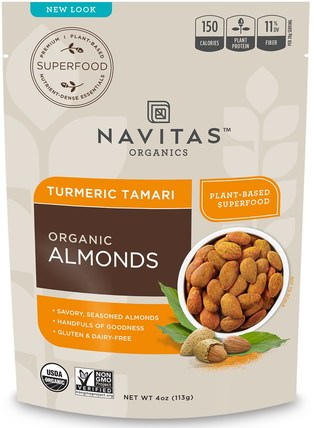 Organic Superfood + Almonds, Turmeric Tamari, 4 oz (113 g) by Navitas Organics, 補充劑,抗氧化劑,薑黃素,食品,堅果籽粒,杏仁 HK 香港