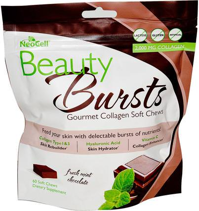Beauty Bursts, Gourmet Collagen Soft Chews, Fresh Mint Chocolate, 2.000 mg, 60 Soft Chews by Neocell, 健康,女性,美容,膠原蛋白類型i和iii HK 香港