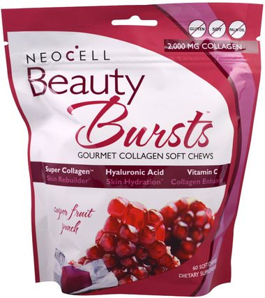 Beauty Bursts, Gourmet Collagen Soft Chews, Super Fruit Punch, 2.000 mg, 60 Soft Chews by Neocell, 健康,骨骼,骨質疏鬆症,膠原蛋白類型i和iii HK 香港