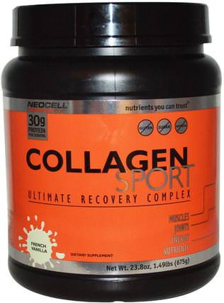 Collagen Sport, Ultimate Recovery Complex, French Vanilla, 23.8 oz (675 g) by Neocell, 補充劑,乳清蛋白,運動 HK 香港