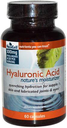 Hyaluronic Acid, Natures Moisturizer, 60 Capsules by Neocell, 美容,抗衰老,透明質酸 HK 香港
