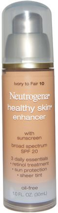 Healthy Skin Enhancer, Broad Spectrum SPF 20, Ivory To Fair 10, 1.0 fl oz (30 ml) by Neutrogena, 美容,面部護理,spf面部護理 HK 香港