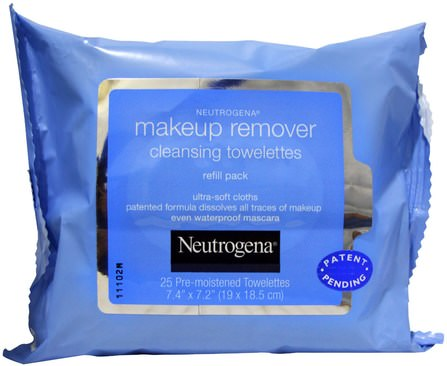 Makeup Remover Cleansing Towelettes, 25 Pre-Moistened Towelettes by Neutrogena, 美容,面部護理,面部濕巾 HK 香港