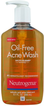 Oil-Free Acne Wash, 9.1 fl oz (269 ml) by Neutrogena, 健康,粉刺,皮膚型粉刺易發皮膚,美容,面部護理,洗面奶 HK 香港