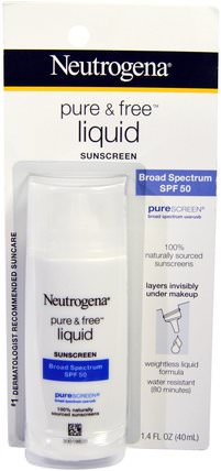 Pure & Free Liquid Sunscreen, SPF 50, 1.4 fl oz (40 ml) by Neutrogena, 洗澡,美容,防曬霜,spf 50-75,面部護理 HK 香港