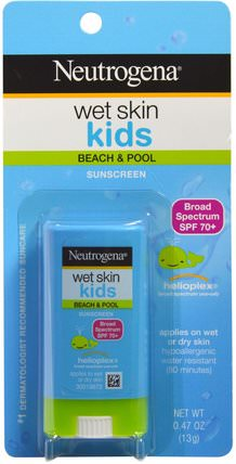Wet Skin Kids, Beach & Pool Stick Sunscreen, SPF 70+, 0.47 oz (13 g) by Neutrogena, 洗澡,美容,防曬霜,spf 50-75,兒童和嬰兒防曬霜 HK 香港
