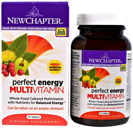 New Chapter, Perfect Energy Multivitamin, 72 Tablets 維生素,多種維生素,新章維生素