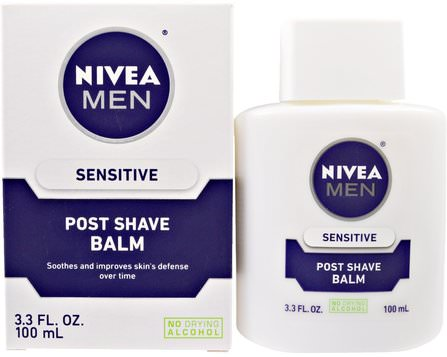 Post Shave Balm for Men, Sensitive, 3.3 fl oz (100 ml) by Nivea, 美容,男士護膚,剃須,剃須後 HK 香港