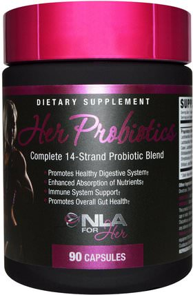 Her Probiotics, Complete 14-Strand Probiotic Blend, 90 Capsules by NLA for Her, 運動,女性運動產品,益生菌 HK 香港