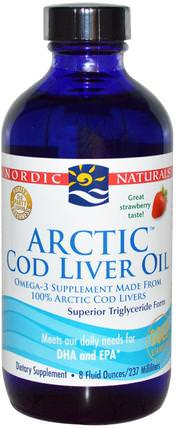 Arctic Cod Liver Oil, Strawberry, 8 fl oz (237 ml) by Nordic Naturals, 補充劑,efa omega 3 6 9(epa dha),魚肝油,魚肝油液 HK 香港