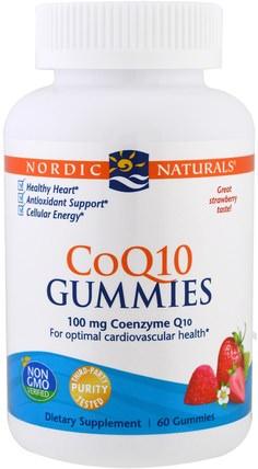 Nordic Naturals, CoQ10 Gummies, Strawberry, 100 mg, 60 Gummies 補充劑,輔酶q10,coq10